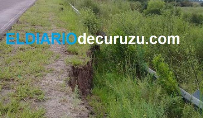"""Se desmoronó parte del terraplen a la altura de """"La cañada"""""""