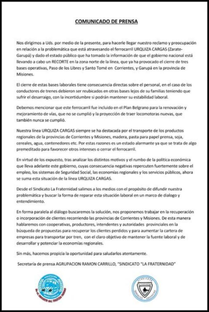 Comunicado de prensa de la agrupación Ramón Carrillo