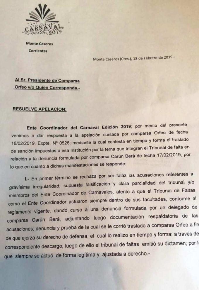 El Ente Coordinador del Carnaval rechazó la apelación formulada por Comparsa Orfeo