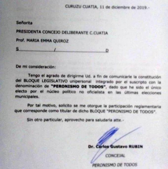 """Carlos Rubín presentó su monobloque """"Peronismo de todos"""" en el Concejo Deliberante"""
