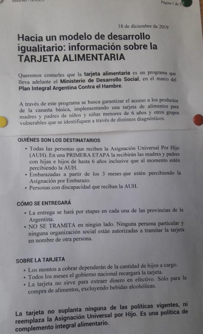 Corrientes al no declarar la emergencia alimentaria no ingresa por ahora en el Programa de la Tarjeta Alimentaria