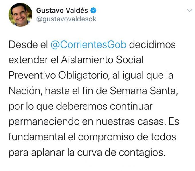El Gobernador Valdés decidió extender el Aislamientos Social Preventivo Obligatorio
