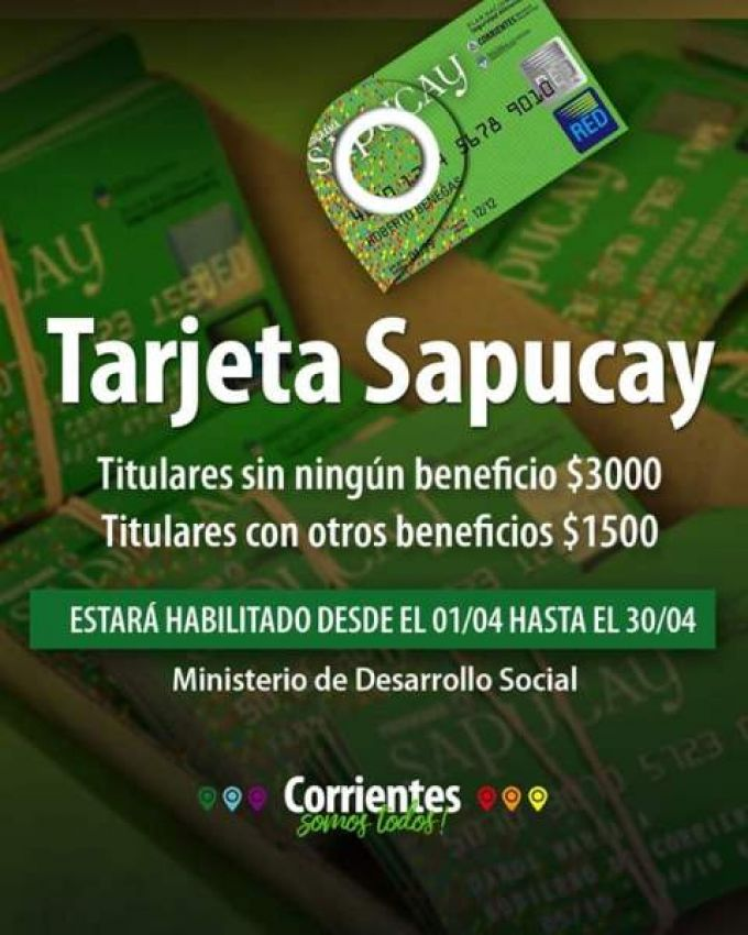 Activarán el 1 de abril las tarjetas Sapucay