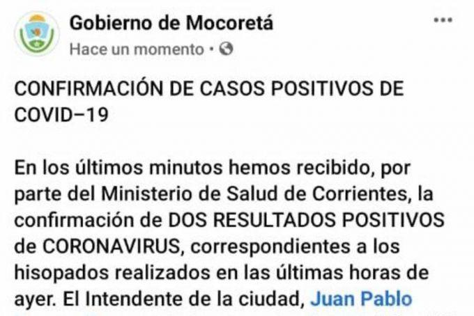 Confirman otros tres casos de covid-19 en Corrientes y ya son 87 los contagiados
